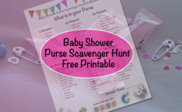 baby shower purse scavenger hunt printable