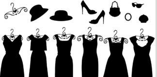 black dress and accessories